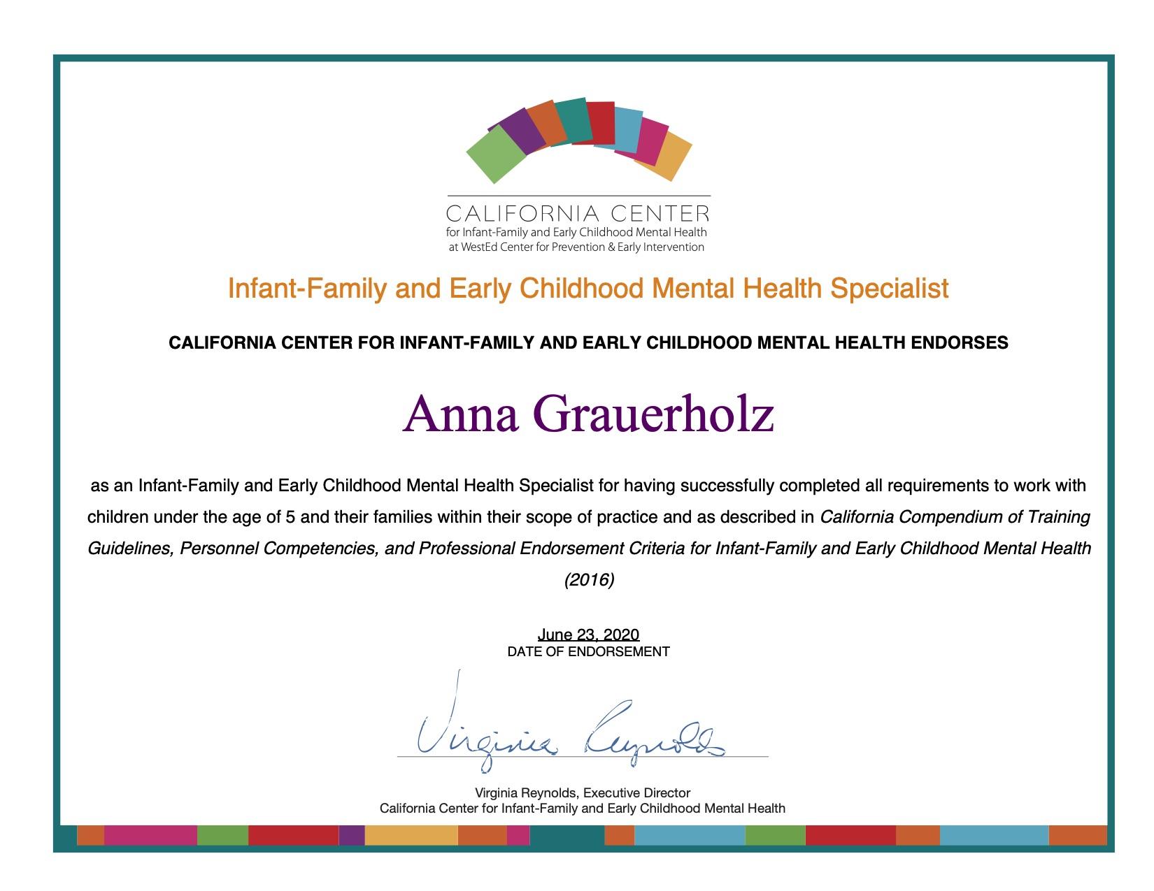 Anna Grauerholz Endorsement Certificate